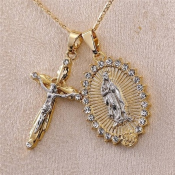 rosary necklace pearl jesus christ cross pendant necklace long chain men s and women s virgin mary christian fashion jewelry Women Men Gold Plated Cross Crucifix Necklace + Virgin Mary Necklace Crucifix Jesus Pendant Necklace Faith Necklace Jewelry