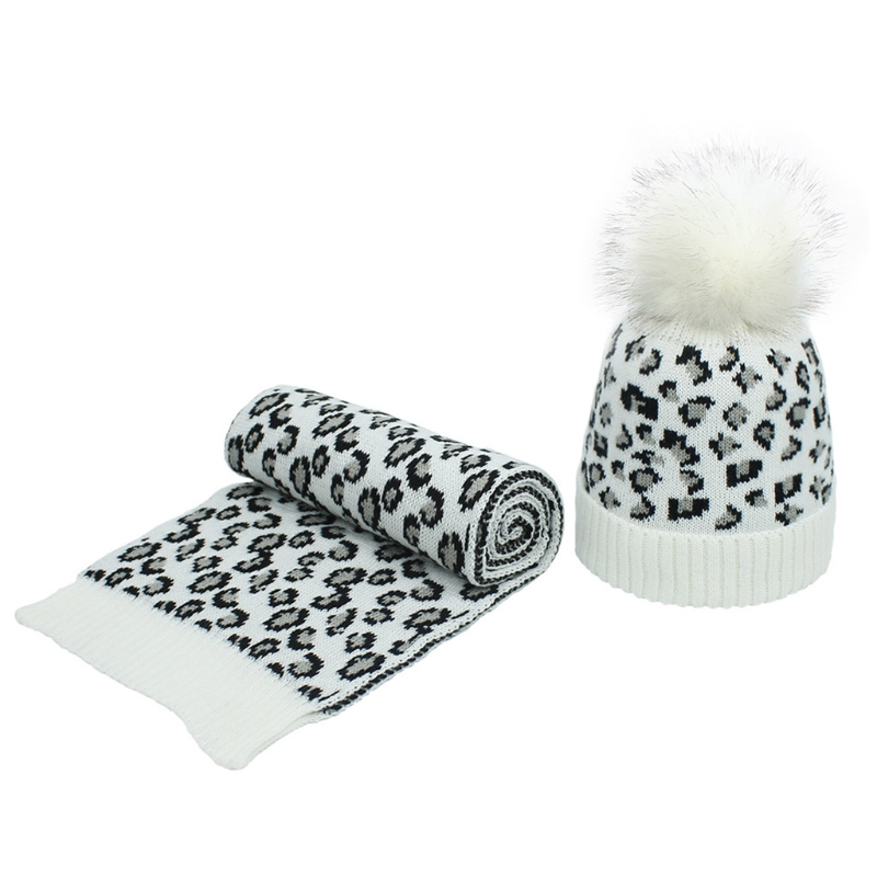 Women Winter Vintage Leopard Knitted Pompom Cuff Beanie Hat and Scarf Shawl Set