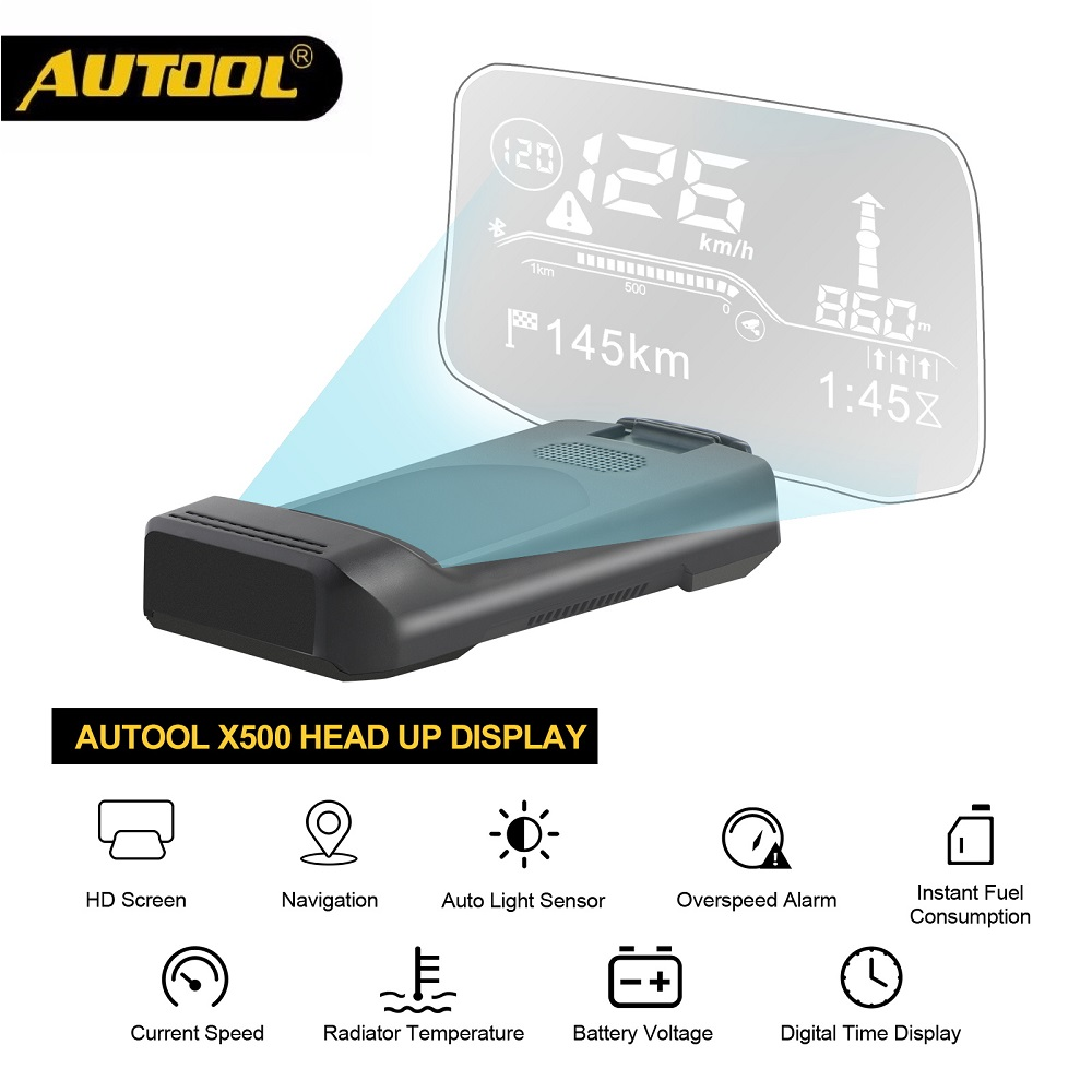 AUTOOL X500 OBD2 Scanner HUD & Car Bluetooth GPS Navigation Head Up Display Windshield Speed Projector Water Temp Overspeed RPM