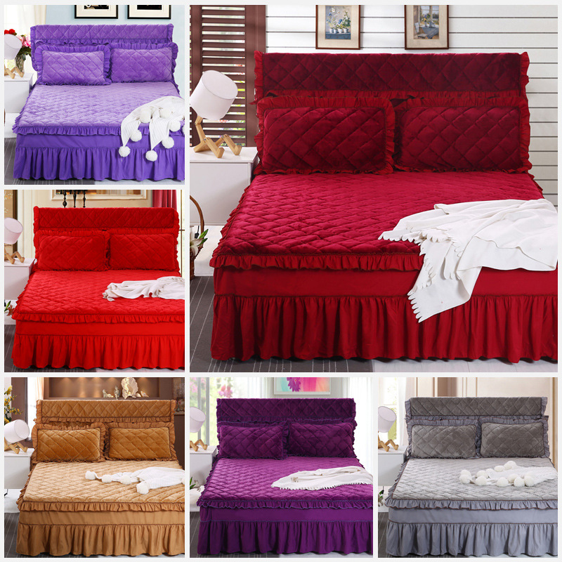 Solid Warm Bedspread Quilted Thickening Plain Flannel Cotton Bed Skirt Bedding Set Bed Mattress Bed Cover For 1.2m/1.5m/1.8m Bed