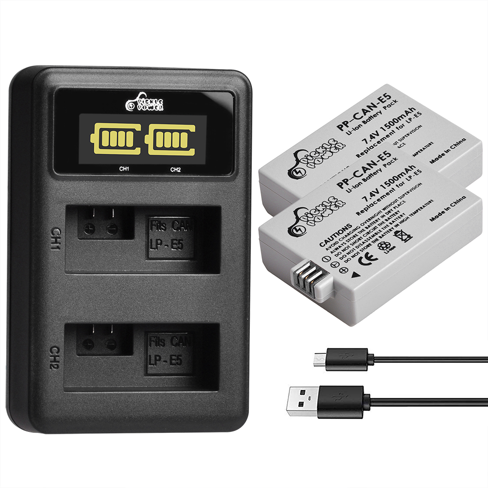 1500 mAh LP-E5 Battery and Charger Set for Canon 450D 500D 1000D Kiss X2 X3 F Rebel XSi Xli XS L15 image