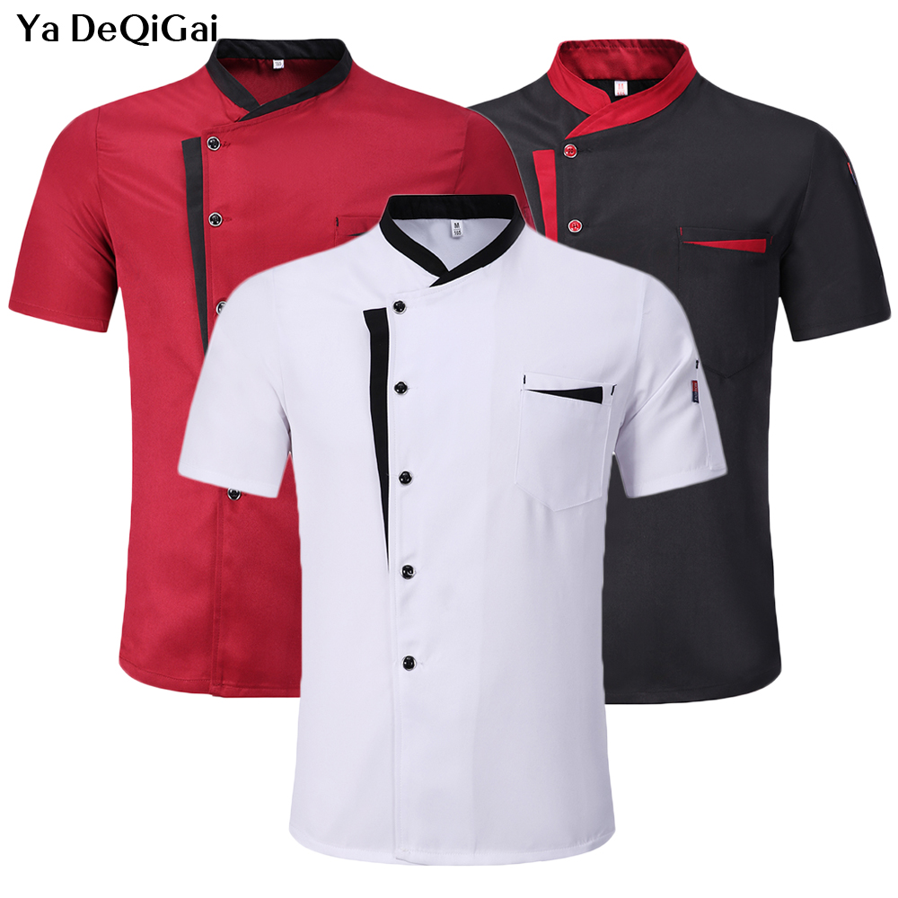 Restaurant Hotel Short Sleeve Workwear Kitchen Chef Jacket Restaurant Cafe Chef Tops Catering Chef Shirt Unisex Work Clothes New