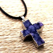 cross natural agate crystal edging plating sweater chain pendant necklace Jesus Christian Catholic wholesale