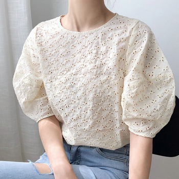 Korean Chic Summer Sweet Women Blouses Vintage O Neck Puff Sleeve Female Shirts 2020 Fashion New Hollow Out Blusas Mujer 1