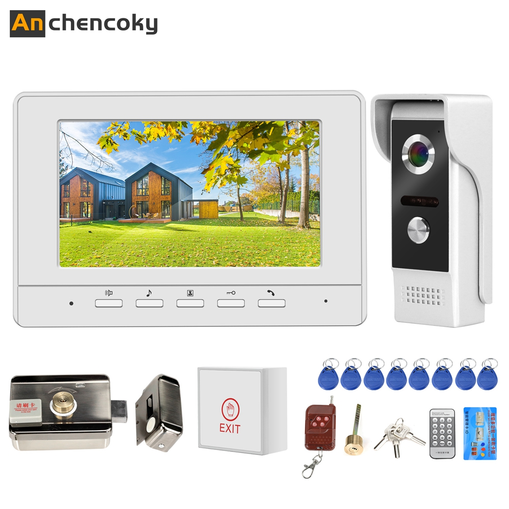 Anchencoky Video Door Intercom With Lock Phone Intercom For Home Electric Lock Access Control 3A Power Control Door Intercom Kit