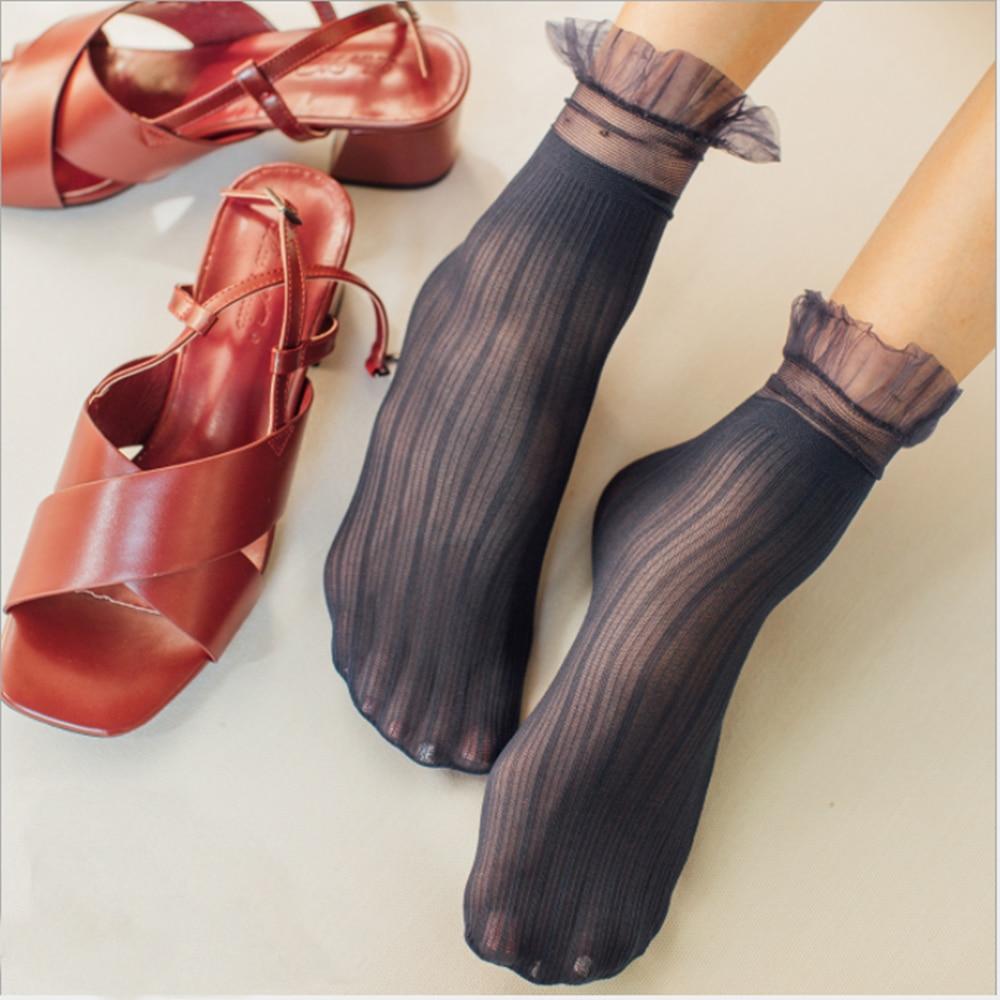 New Women Ladies Socks Fashion Sheer Mesh Glass Silk Socks Ultrathin Transparent Crystal Lace Fabulous Elastic Summer Cute Sock