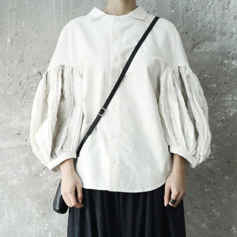 Longue lanterne manches pli fendu Joint blanc chemise ample femmes Blouse 2019 mode coton automne hiver vêtements haut pour femme F99