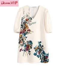 ZA Fashion women stylish floral pattern white mini dress V neck half sleeve pockets female stylish chic dresses vestidos hot(China)