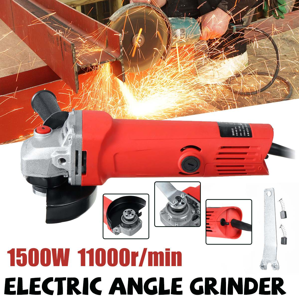 1500W Electric Angle Grinder 100mm Multi-function Household Sander Grinding Metal Stone Cutting Woodworking Grinder Power Tool