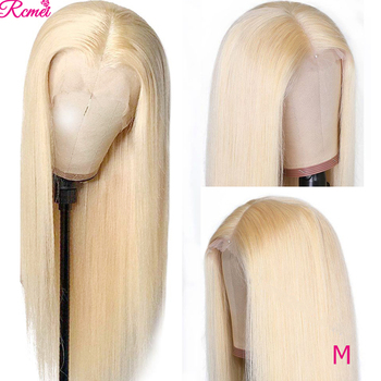 Lace Frontal Wig 613 Honey Blonde Lace Front Human Hair Wigs Brazilian Straight Transparent 13*1 Lace Wig pre plucked 150 Remy image