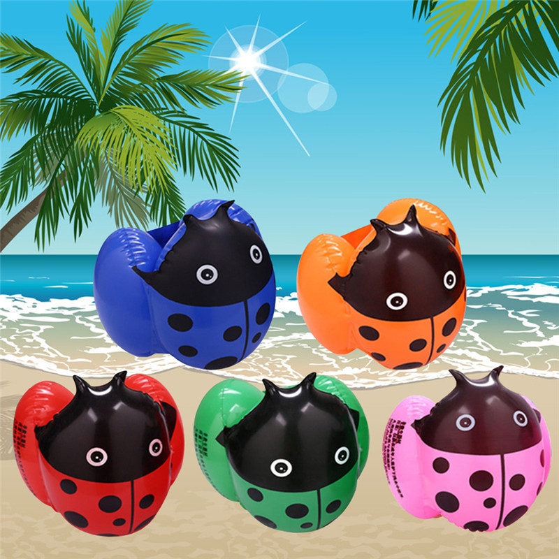 1pair Kids Swimming Arm Ring Band Wing Baby Ladybugs Summer Learn Swim Float Bathing Water Toy Pool Inflatable Tube