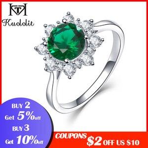 Image 2 - Kuololit luxe spinelle émeraude anneaux pour les femmes 925 bijoux en argent Sterling fiançailles mariage mai pierre de naissance anneau cadeau romantique