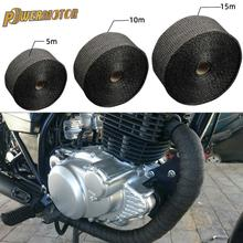 5cm*5M/10M/15M Motorcycle Exhaust Thermal Tape Header Heat Wrap Manifold Insulation Roll Resistant with Stainless Ties