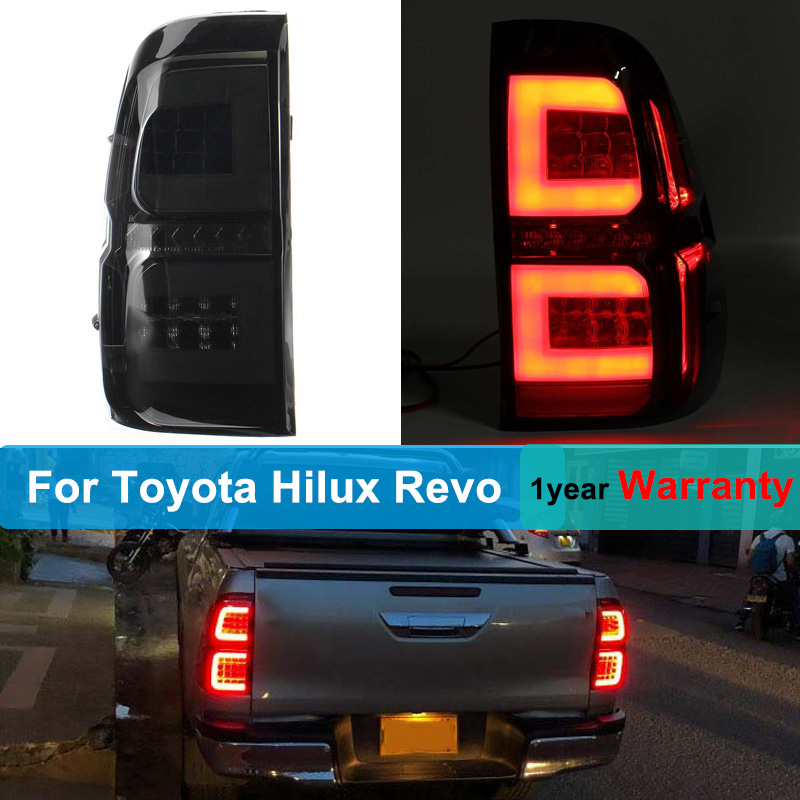 2Pcs LED Taillights For Toyota Hilux Revo SR5 M70 2015 2016 2017 2018 Styling Rear Brake Driving Lamp Drl Tail Lights