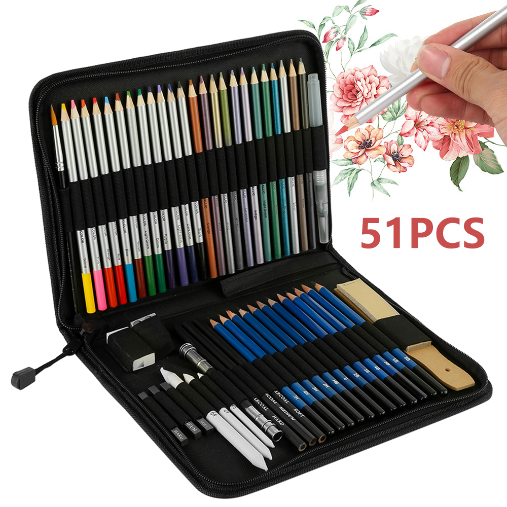 51pcs Professional Oil Color Pencils Set HB Drawing Sketch  For School Student Gifts Art Painting Supplies