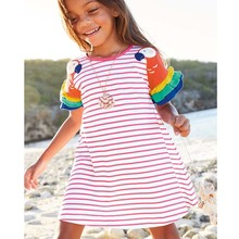 2-8 Years New Girls Dresses 2021 Summer Kids 100 Cotton Children Princess Dress Stripe Printing Clothes cheap Sun Moon Kids CN(Origin) Knee-Length O-neck Regular SHORT Casual Fits true to size take your normal size Embroidery sun moon 002