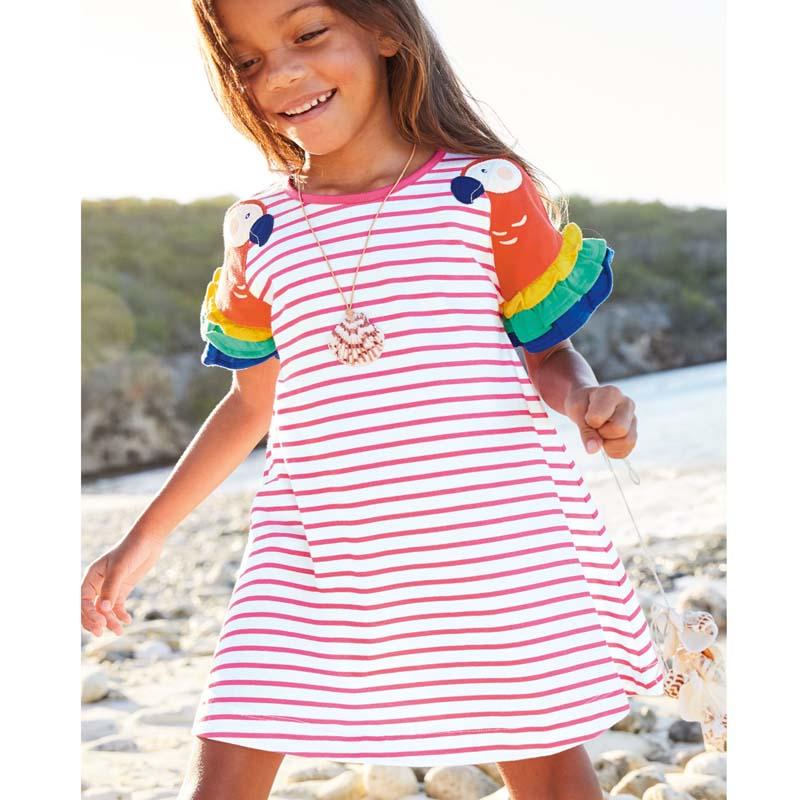 2-8 Years New Girls Dresses 2021 Summer Kids 100% Cotton Children Princess Dress Stripe Printing Clothes