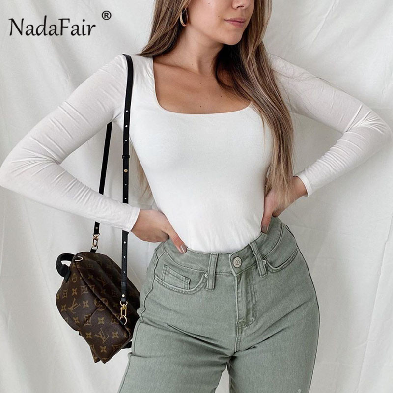 Nadafair Long Sleeve Black Bodysuit One-piece Winter White Bodysuit For Women S-XL Solid Body Female/Women Bodysuit