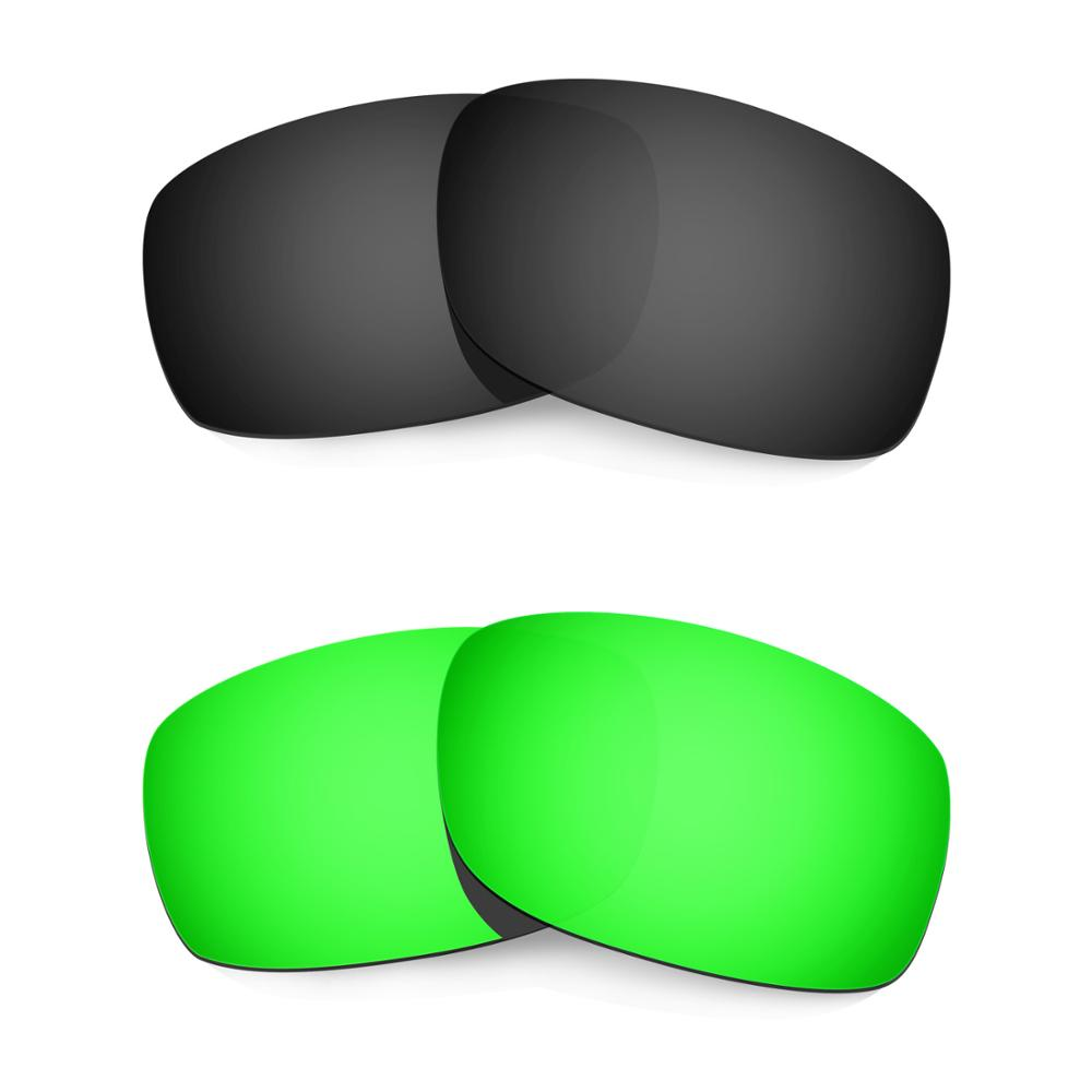 HKUCO For Fives 3.0 Sunglasses Replacement Polarized Lenses 2 Pairs - Black & Green