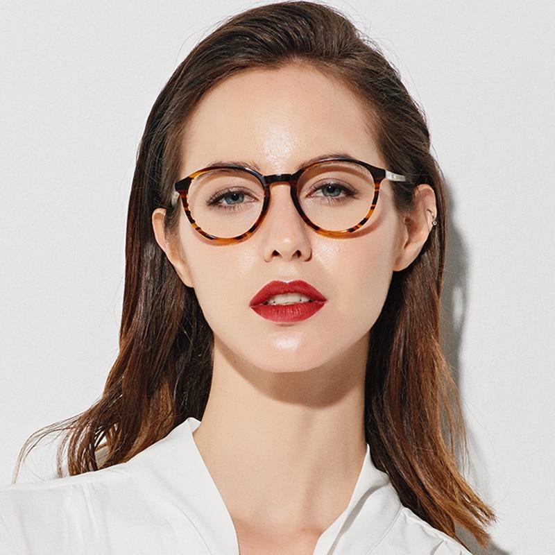SASAMIA Glasses Round Retro Demi Eye Glasses Women Optical Circle Glasses Frame Vintage Acetate Eyeglass Frames For Women Trends