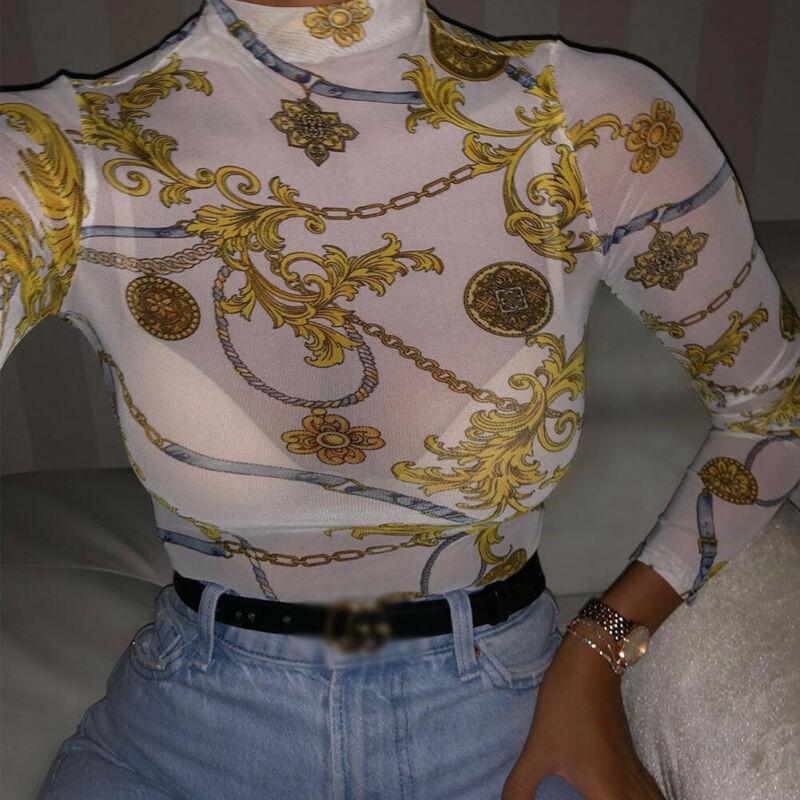 Women Transparent Mesh Net Tops T-Shirt Long Sleeve Bodycon Hollow Print Tees Slim Sexy Tops Club Wear