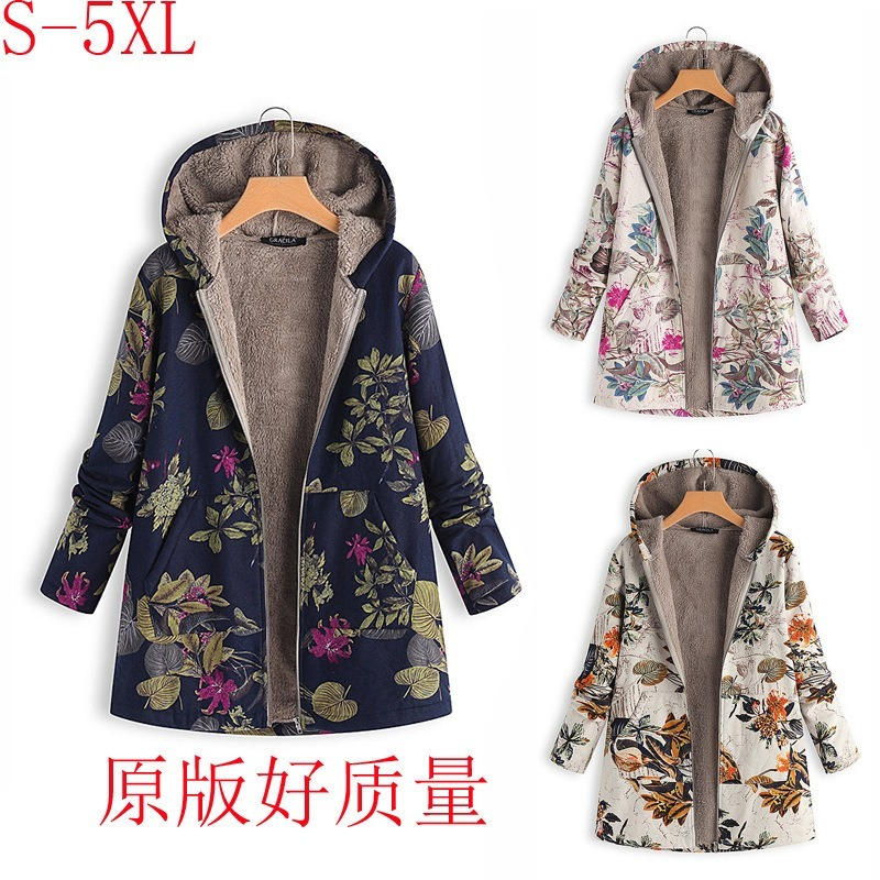 Hoodies Print   Parka   Mujer Winter Coats Women Thicken Velvets Plus Size Liner Tops Pockets Loose Warm Ladies Down Cotton Jacket85
