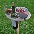 Outdoor Tragbare Faltbare Wein Tisch mit Runde Desktop Mini Holz Leicht Zu Tragen Rack PicnicParty Reise Werkzeuge Dropshipping