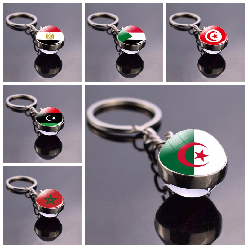 North Africa Flag Keychain Algeria Sudan Tunisia Morocco Libya Egypt Glass Ball Keyring Chain Country National Flag Jewelry