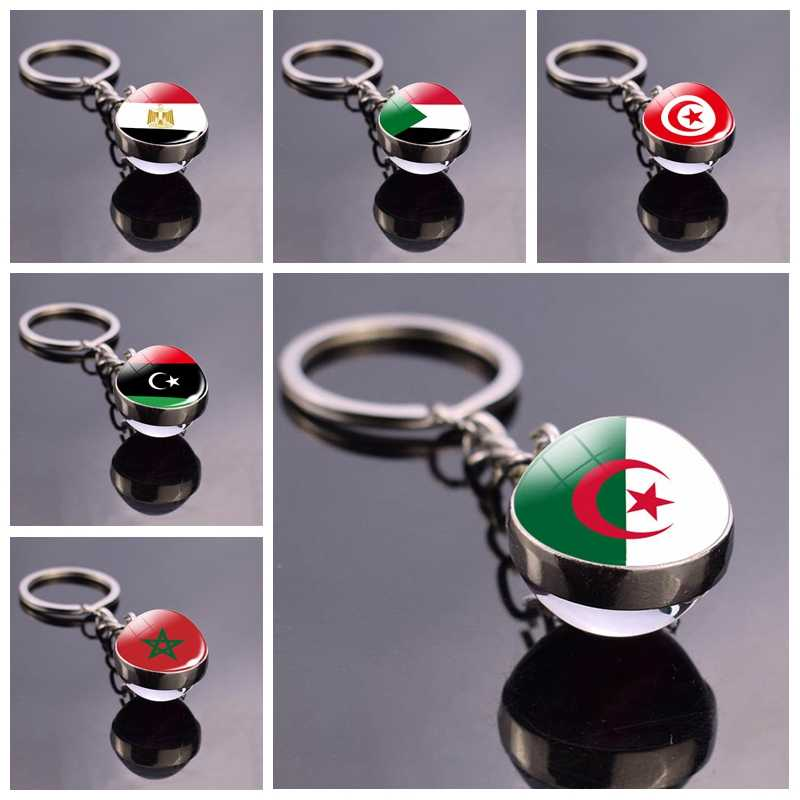 North Africa ธงพวงกุญแจแอลจีเรียซูดานตูนิเซียโมร็อกโกลิเบียอียิปต์แก้วบอลพวงกุญแจโซ่แห่งชาติประเทศธงเครื่องประดับ