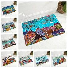 Retro Rural Color City Doormat Super Soft Flannel Carpet for Kitchen Bedroom Non-Slip Decor Cartoon House Floor Door Mat 40x60cm