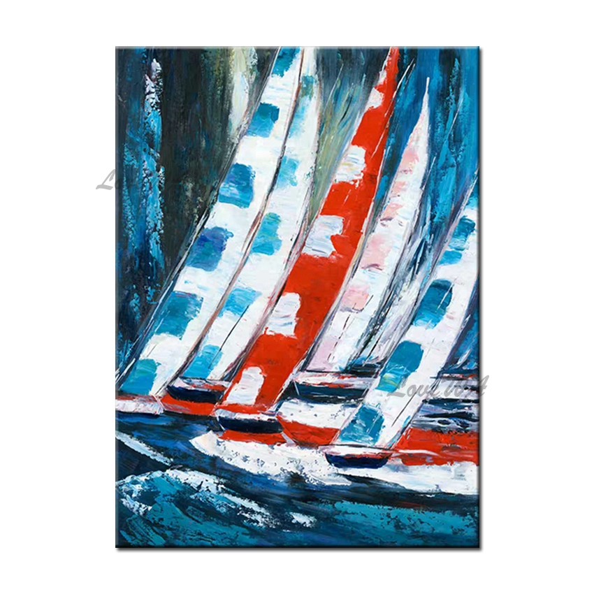 Handmade Palette <font><b>Knife</b></font> Art Thick Textured <font><b>Boat</b></font> Oil Painting Canvas Wall Decor Art On Canvas Modern Home Wall Artwork For Room image