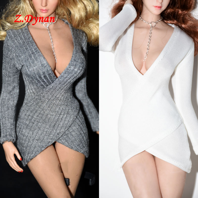 1/6 Scale Female Sexy OL Dress with Necklace Grey/ White Color for 12 Inches TBL Phicen Action Figure Clothes image