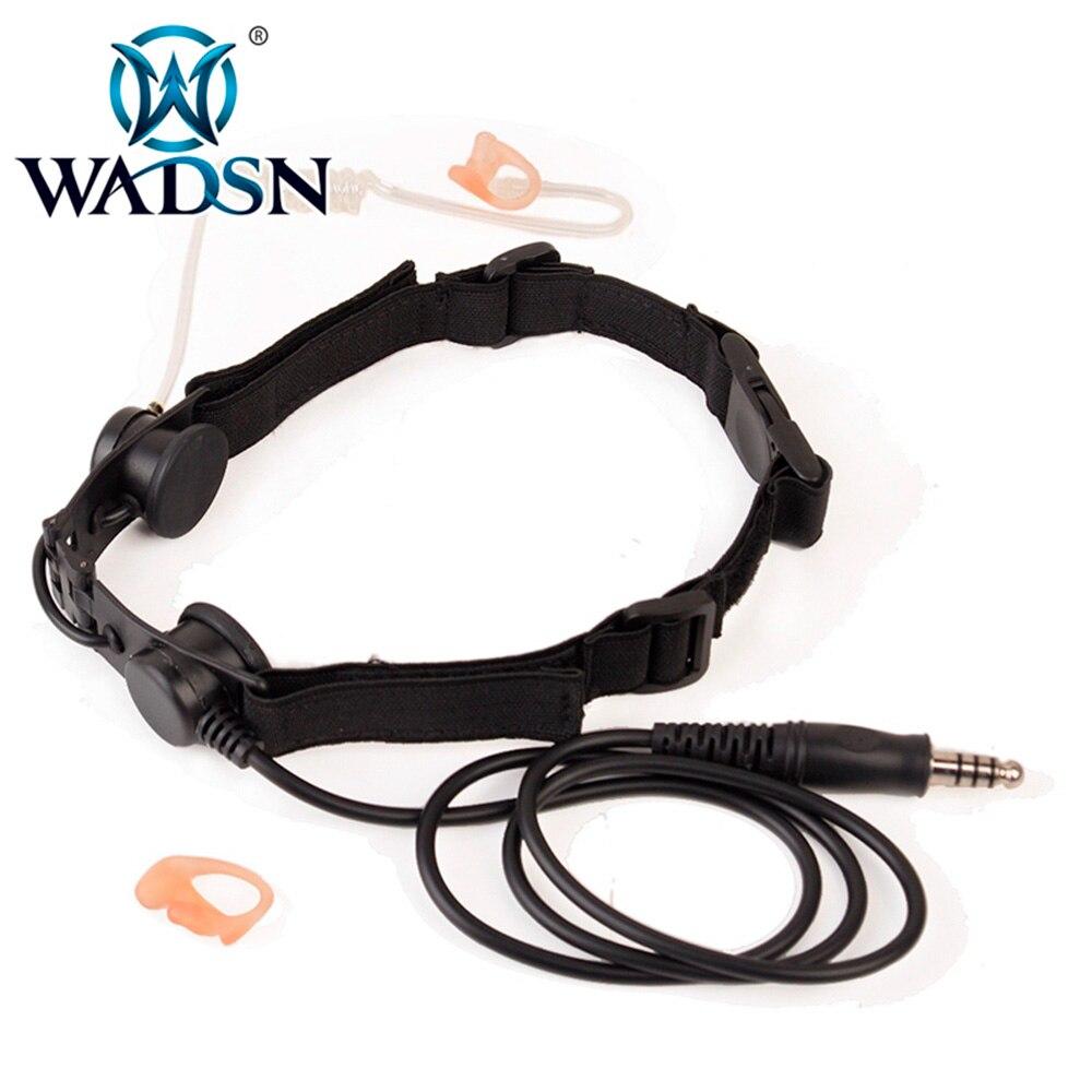 wadsn padrao militar plug fone de ouvido airsoft garganta mic com arnes ajustavel pescoco cinta unico