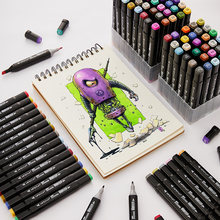 12/24/36/48/60 cores marcadores conjunto manga desenho marcadores caneta álcool baseado esboço feltro-ponta twin escova caneta arte suprimentos 04379
