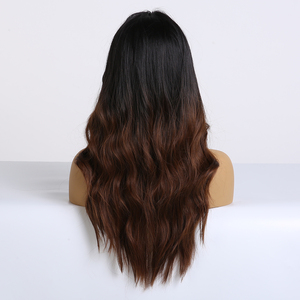 Image 3 - EASIHAIR Long Dark Brown Synthetic Wigs for Women Black to Brown Ombre Color Middle Part Wavy Cosplay Wigs Heat Resistant
