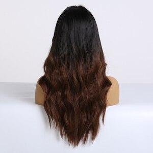 Image 3 - EASIHAIR ארוך חום כהה סינטטי פאות עבור נשים שחור כדי חום Ombre צבע אמצע חלק גלי קוספליי פאות חום עמיד