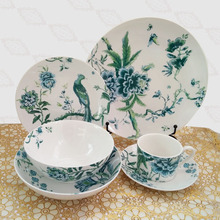 цена на Exports to Europe the UK Fashion Flower Peacock Glaze Color Ceramic Tableware Coffee Cup Plate dinner sets bone china  cutlery