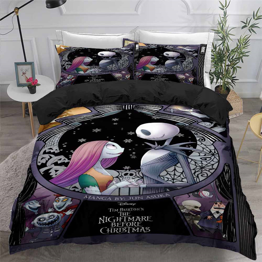 HELENGILI 3D Bedding Set Nightmare Before Christmas Print Duvet Cover Set Bedcloth With Pillowcase Bed Set Home Textiles #SDY23