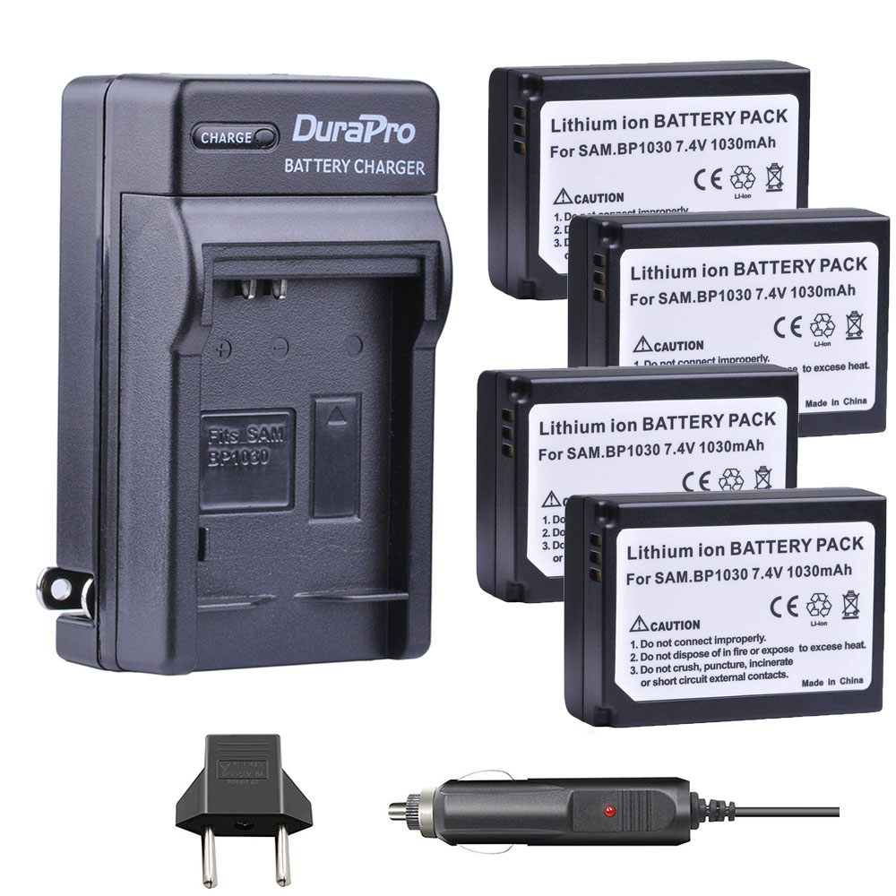 4pc 1030mAH BP-1030 BP 1030 Rechargeable Camera Battery + Car <font><b>Charger</b></font> For <font><b>Samsung</b></font> NX200 NX210 NX300 NX500 <font><b>NX1000</b></font> NX1100 NX-300M image