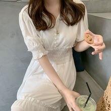 Elastik bel artı boyutu yaz elbisesi kız Boho parti kadın Vintage elbise şifon kısa kollu kadın elbiseleri beyaz uzun elbise Ve