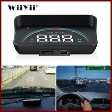 Geyiren m8 carro hud cabeça up display obd2 ii euobd sistema de aviso excesso de velocidade projetor pára brisa automático alarme tensão eletrônica
