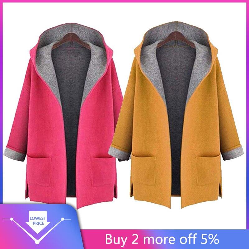 2018 Women's Plus Size 4XL-5XL Fahion Wool Coat Jacket Medium Long Large Size Loose Front Open Coat Coats Yellow,Pink Colors