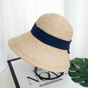 Image 5 - ליידי רחב גדול מגן שמש כובע לנשים טבעי ספארי קש כובע חוף צל רפיה כובע