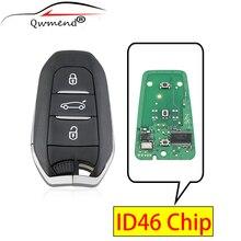 QWMEND ID46 Chip Car Remote Key for Peugeot 308 508 CITROEN C4 DS4 DS5 2010-2016 Smart Car Key 3 Buttons 433mhz