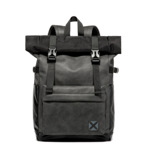 New men's PU leather travel backpack oversized space travel luggage backpack multi-functional backpack