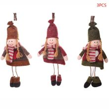 3pcs/set Christmas Doll Snowman Ornament Tree Toy Hanging Festival Party Xmas Decorations Gift for Home