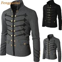 2019 Man Purim Victorian Gothic Style Jacket Zipper Christian Medieval Knight Coat Solid Middle Ages Male Carnival Clothing