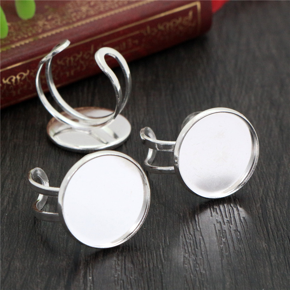 20mm 5pcs Light Silver Plated Brass Adjustable Ring Settings Blank/Base,Fit 20mm Glass Cabochons,Buttons;Ring Bezels -K3-04