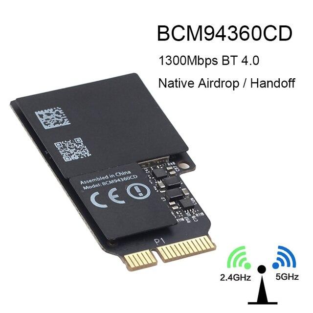 1750 mb/s dwuzakresowe WiFi karta Bluetooth 2.4GHz/5GHz BT 4.0 Broadcom BCM94360CD moduł bezprzewodowy do Apple Hackintosh Mac OS