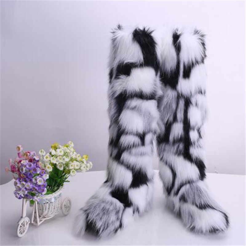 Kadın kış Faux Fox kürk kar botları kadın sıcak kürklü ayakkabı kadın yarım çizmeler bayanlar platformu Botas Mujer beyaz/ siyah ayakkabı